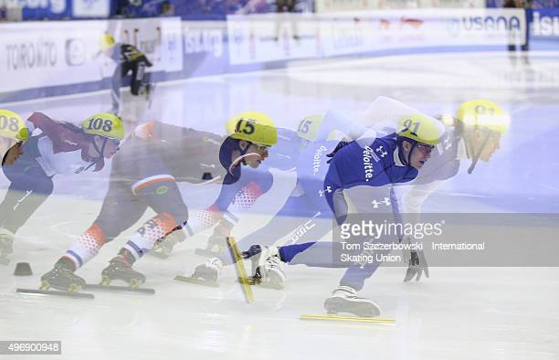 Lexi Burkholder of the United States competes against Veronique Pierron of France and Patricia Toth of Hungary on Day 1 of the ISU World Cup Short...