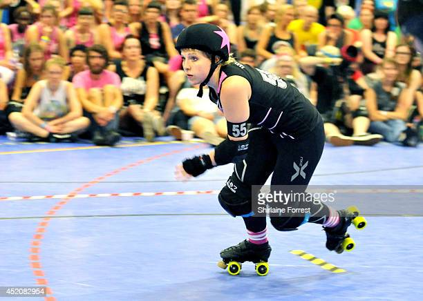 Lexi Lightspeed of London Rollergirls during the London Rollergirls vs Gotham Girls Roller Derby All Stars bout at Futsal Arena on July 12 2014 in...