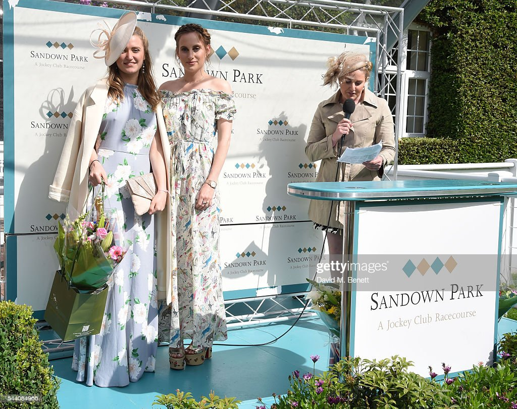 Lexi O'Neil and Rosie Fortescue attend the Sandown Park Racecourse Ladies' Day STYLE AWARD Hosted by Rosie Fortescue at Sandown Park on July 1, 2016 in Esher, England.
