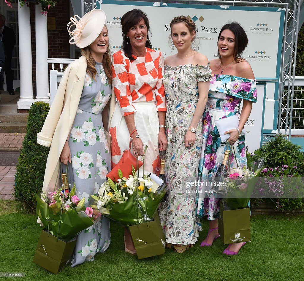 Lexi O'Neil, Tina Gough, Rosie Fortescue and Nicola Mintern attend the Sandown Park Racecourse Ladies' Day STYLE AWARD Hosted by Rosie Fortescue at Sandown Park on July 1, 2016 in Esher, England.