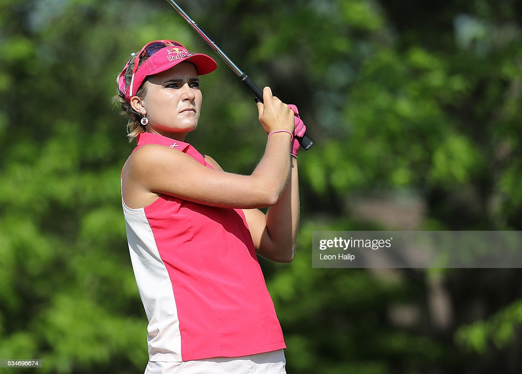 Lexi Thompson from the United States hits her tee shot on the sixteenth hole during the second round of the LPGA Volvik Championship on May 27, 2016 at Travis Pointe Country Club Ann Arbor, Michigan.