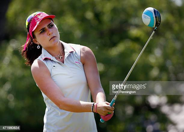 Lexi Thompson hits a tee shot on the seventh hole during Round Three of the 2015 Volunteers of America North Texas Shootout Presented by JTBC at Las...