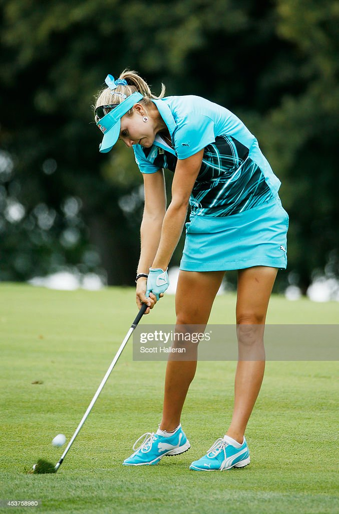 Lexi Thompson hits her approach shot on the tenth hole during the final round of the Wegmans LPGA Championship at Monroe Golf Club on August 17, 2014 in Pittsford, New York.