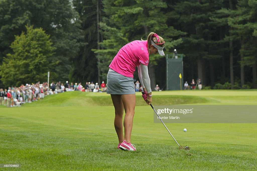 Lexi Thompson hits her second shot on the first hole during the third round of the Wegmans LPGA Championship at Monroe Golf Club on August 16, 2014 in Pittsford, New York.