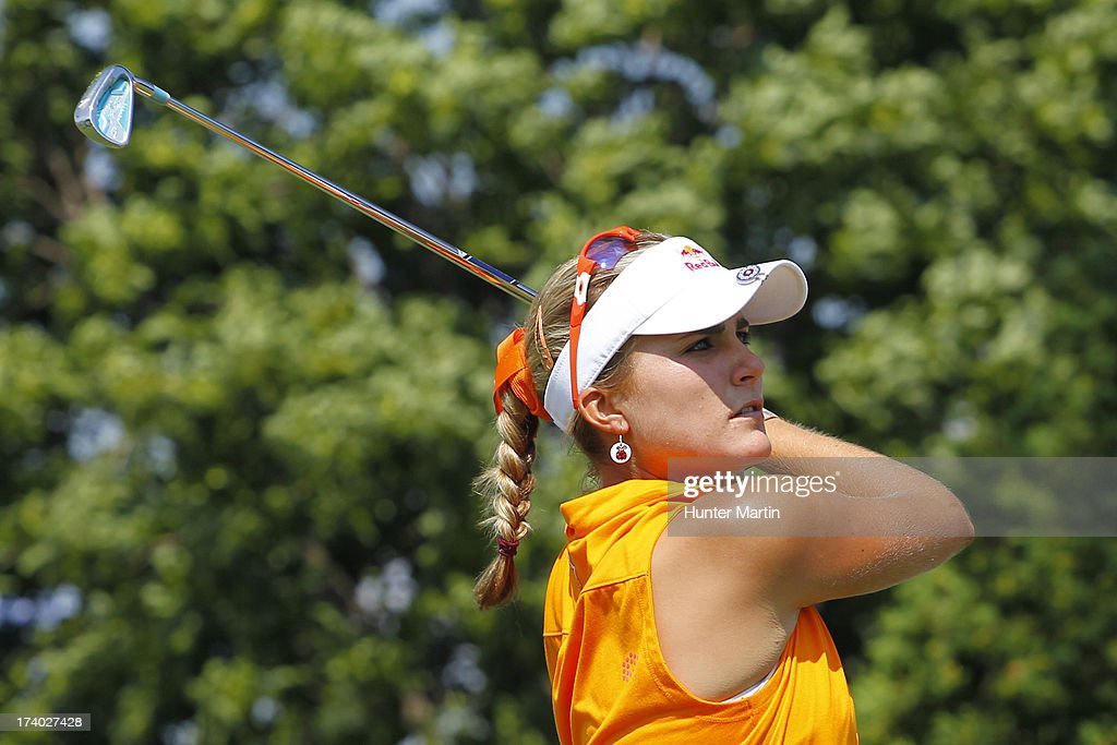 Lexi Thompson hits her tee shot on the first hole during round two of the Marathon Classic presented by Owens Corning & O-I on July 19, 2013 in Sylvania, Ohio.