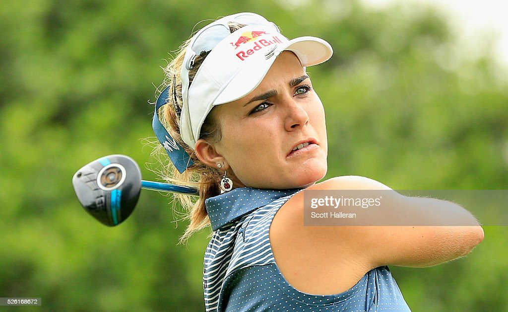 Lexi Thompson hits her tee shot on the second hole during the second round of the Volunteers of America Texas Shootout at Las Colinas Country Club on April 29, 2016 in Irving, Texas.