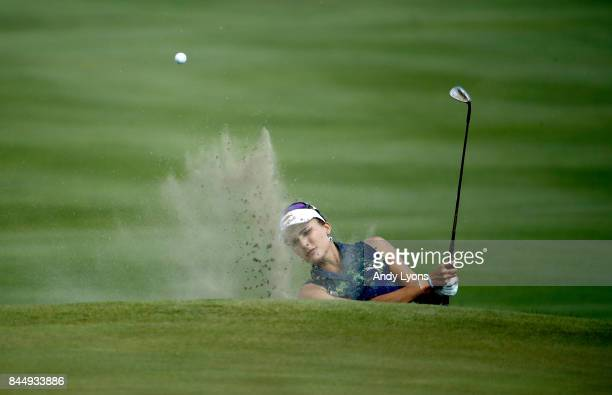 Lexi Thompson hits her third shot on the 8th hole during the final round of the Indy Women In Tech ChampionshipPresented By Guggenheim at the...