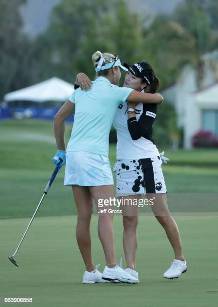 Lexi Thompson hugs So Yeon Ryu of the Republic of Korea after Ryu defeated Thompson in a playoff during the final round of the ANA Inspiration at the...