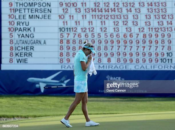 Lexi Thompson looks dejected on the 18th green after her four shot rules penalty during the final round of the 2017 ANA Inspiration held on the Dinah...