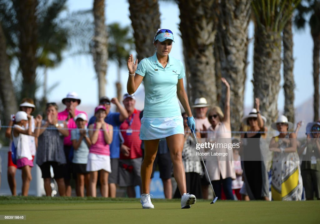 Lexi Thompson makes a birdie putt on the 13th hole during the final round of the ANA Inspiration on the Dinah Shore Tournament Course at Mission Hills Country Club on April 2, 2017 in Rancho Mirage, California.