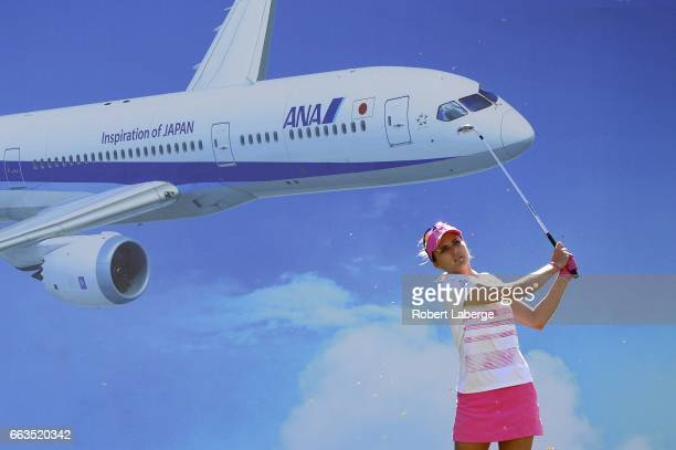 Lexi Thompson makes a tee shot on the eight hole during the third round of the ANA Inspiration on the Dinah Shore Tournament Course at Mission Hills...