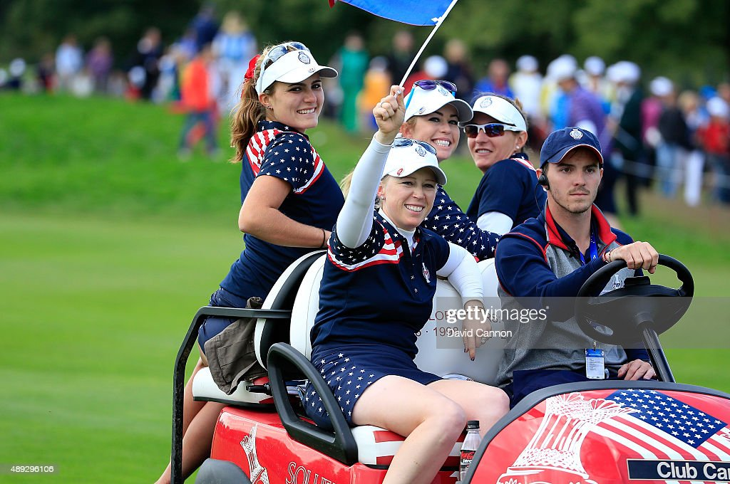 Lexi Thompson, <a gi-track='captionPersonalityLinkClicked' href=/galleries/search?phrase=Morgan+Pressel&family=editorial&specificpeople=213164 ng-click='$event.stopPropagation()'>Morgan Pressel</a>, <a gi-track='captionPersonalityLinkClicked' href=/galleries/search?phrase=Paula+Creamer&family=editorial&specificpeople=209411 ng-click='$event.stopPropagation()'>Paula Creamer</a> and <a gi-track='captionPersonalityLinkClicked' href=/galleries/search?phrase=Brittany+Lang&family=editorial&specificpeople=234881 ng-click='$event.stopPropagation()'>Brittany Lang</a> celebrate on a team buggy after the match was decided during the final day singles matches in the 2015 Solheim Cup at St Leon-Rot Golf Club on September 20, 2015 in Sankt Leon-Rot, Germany.