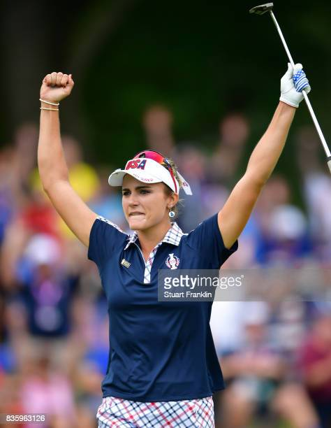 Lexi Thompson of Team USA celebrates during the final day singles matches of The Solheim Cup at Des Moines Golf and Country Club on August 20 2017 in...