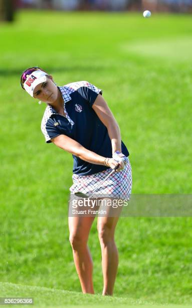 Lexi Thompson of Team USA in action during the final day singles matches of The Solheim Cup at Des Moines Golf and Country Club on August 20 2017 in...