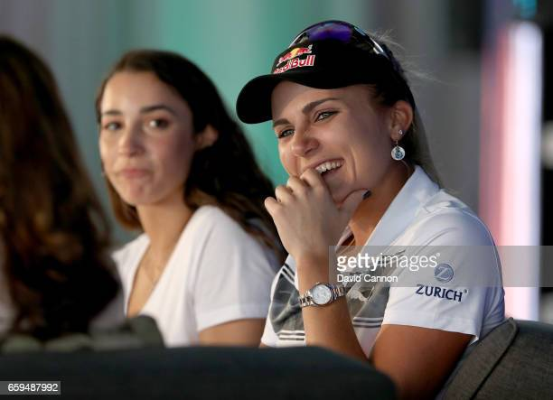 Lexi Thompson of the United States on stage with the American Olympic Gymnast Aly Raisman during the ANA Inspiring Women in Sports Conference as a...
