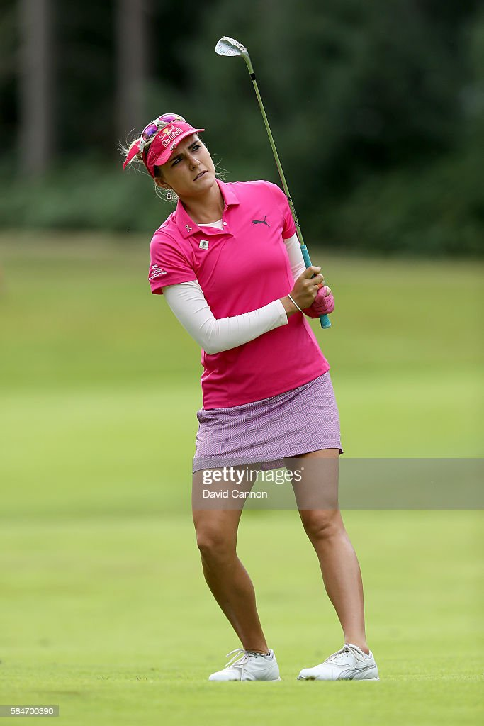 Lexi Thompson of the United States plays her second shot at the 12th hole during the third round of the 2016 Ricoh Women's British Open on July 30...