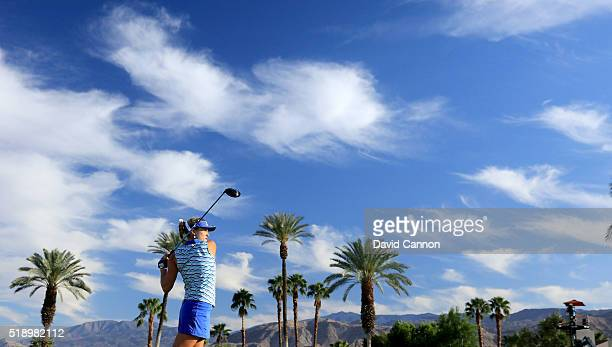 Lexi Thompson of the United States plays her tee shot at the par 4 16th hole during the final round of the 2016 ANA Inspiration at the Mission Hills...