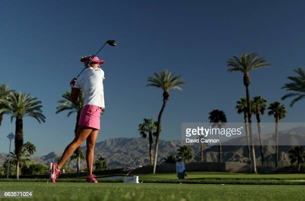 Lexi Thompson of the United States plays her tee shot on the par 4 16th hole during the third round of the 2017 ANA Inspiration held on the Dinah...