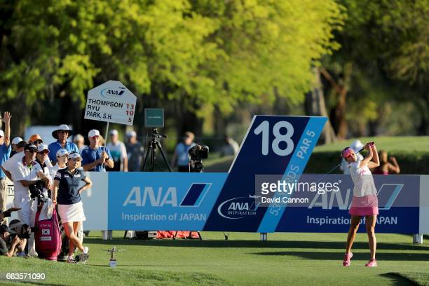 Lexi Thompson of the United States plays her tee shot on the par 5 18th hole during the third round of the 2017 ANA Inspiration held on the Dinah...