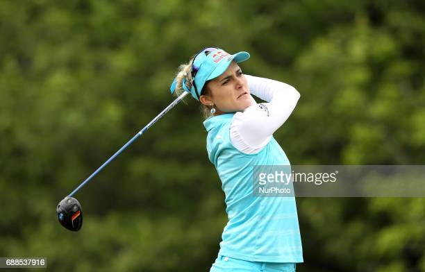 Lexi Thompson of the United States tees off on the 11th tee during the first round of the LPGA Volvik Championship at Travis Pointe Country Club Ann...