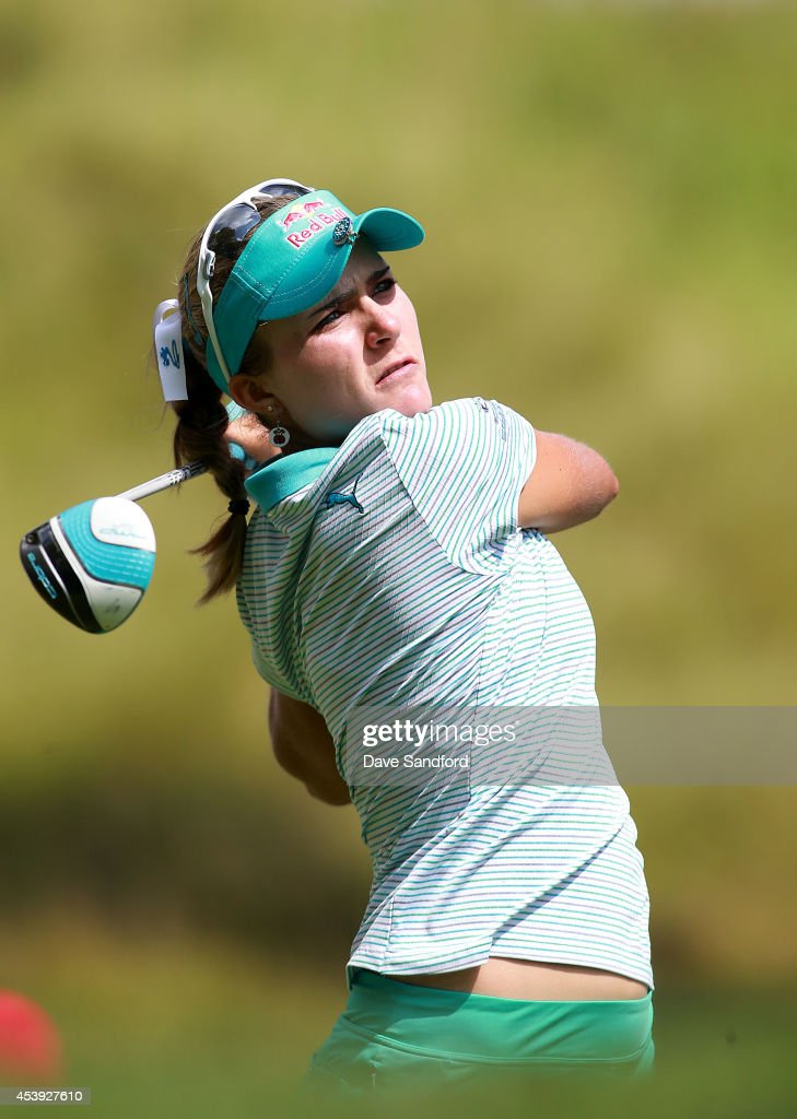 Lexi Thompson of the U.S. hits her tee shot on the 10th hole during the first round of the LPGA Canadian Pacific Women's Open at the London Hunt and Country Club on August 21, 2014 in London, Ontario, Canada.