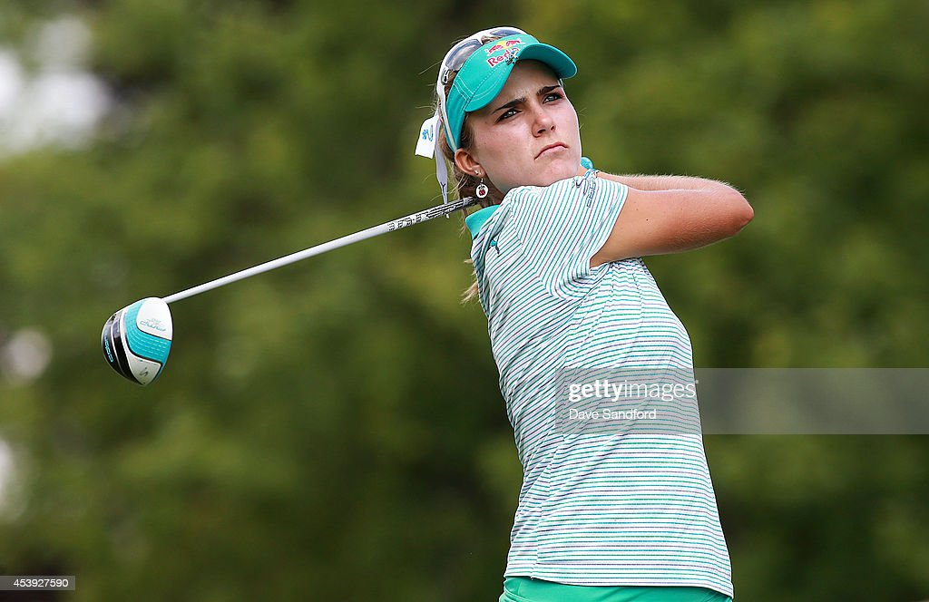 Lexi Thompson of the U.S. hits her tee shot on the ninth hole during the first round of the LPGA Canadian Pacific Women's Open at the London Hunt and Country Club on August 21, 2014 in London, Ontario, Canada.