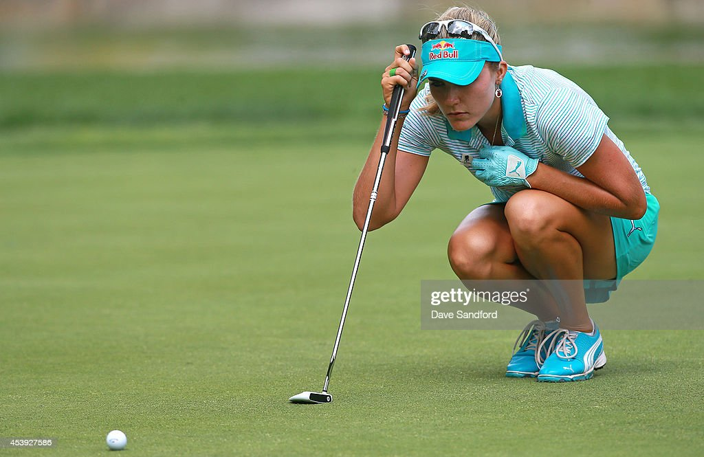 Lexi Thompson of the U.S. lines up a putt on the 10th hole during the first round of the LPGA Canadian Pacific Women's Open at the London Hunt and Country Club on August 21, 2014 in London, Ontario, Canada.