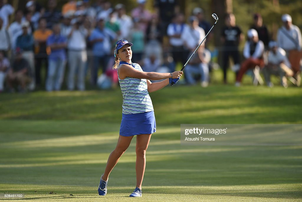 Lexi Thompson of the USA hits her second shot on the 16th hole during the first round of the World Ladies Championship Salonpas Cup at the Ibaraki Golf Club on May 5, 2016 in Tsukubamirai, Japan.