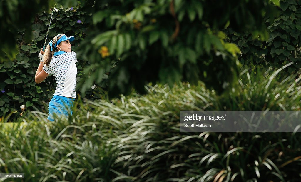 Lexi Thompson of the USA hits her tee shot on the 11th hole during the final round of the Lorena Ochoa Invitational Presented by Banamex at the Guadalajara Country Club on November 17, 2013 in Guadalajara, Mexico.