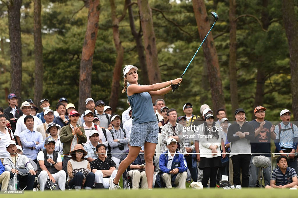 Lexi Thompson of the USA hits her tee shot on the 12th hole during the second round of the World Ladies Championship Salonpas Cup at the Ibaraki Golf Club on May 6, 2016 in Tsukubamirai, Japan.