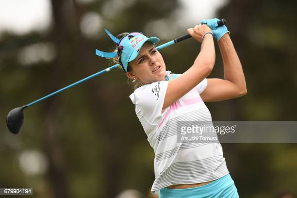 Lexi Thompson of the USA hits her tee shot on the 16th hole during the final round of the World Ladies Championship Salonpas Cup at the Ibaraki Golf...