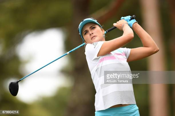 Lexi Thompson of the USA hits her tee shot on the 2nd hole during the final round of the World Ladies Championship Salonpas Cup at the Ibaraki Golf...