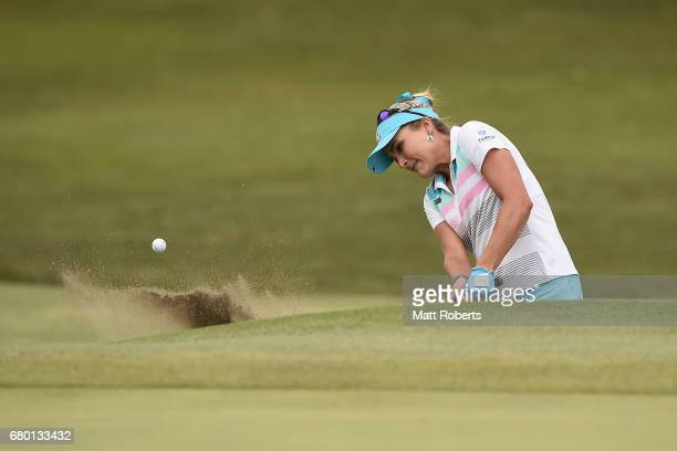 Lexi Thompson of the USA hits out of the 5th green bunker during the final round of the World Ladies Championship Salonpas Cup at the Ibaraki Golf...