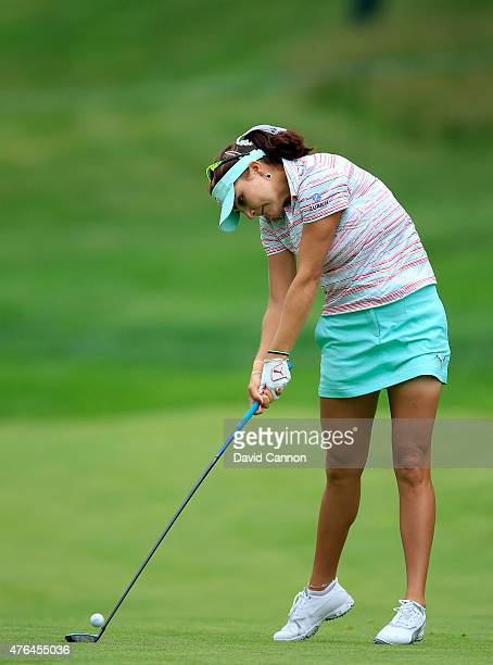 Lexi Thompson of the USA in action during the proam as a preview for the 2015 KPMG Women's PGA Championship on the West Course at Westchester Country...