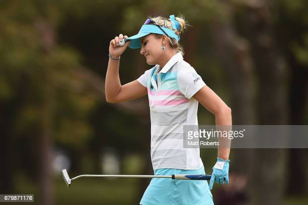 Lexi Thompson of the USA looks dejected on the 3rd green during the final round of the World Ladies Championship Salonpas Cup at the Ibaraki Golf...
