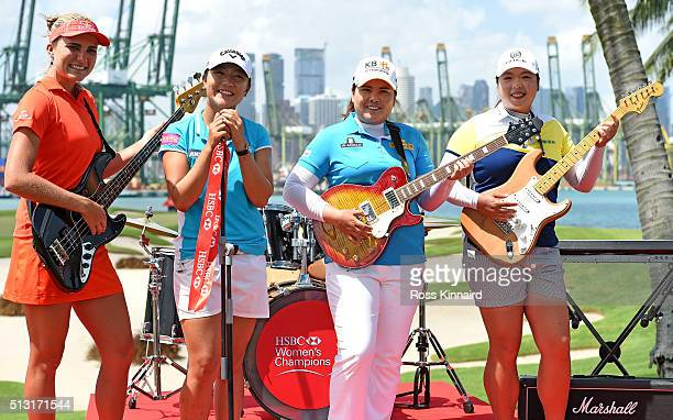 Lexi Thompson of the USA Lydia Ko of New Zealand Inbee Park of South Korea and ShanShan Feng of China during a photo call prior to the HSBC Women's...