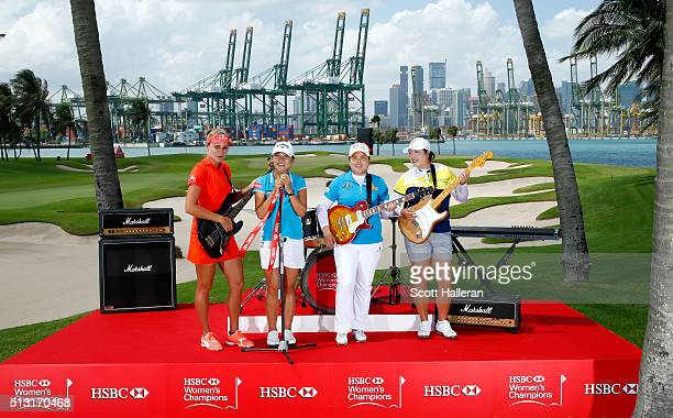 Lexi Thompson of the USA Lydia Ko of New Zealand Shanshan Feng of China and Inbee Park of South Korea during a photo call prior to the HSBC Women's...