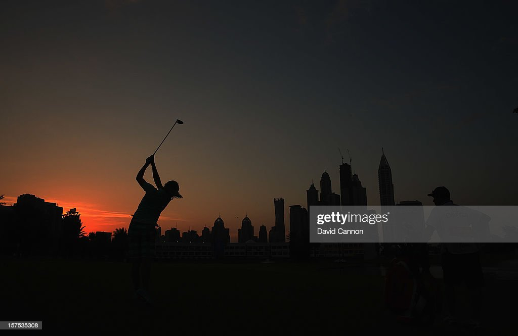 Lexi Thompson of the USA plays her second shot at the par 5, 18th hole during the pro-am as a preview for the 2012 Omega Dubai Ladies Masters on the Majilis Course at the Emirates Golf Club on December 4, 2012 in Dubai, United Arab Emirates.