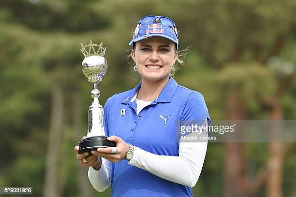 Lexi Thompson of the USA poses with the trophy after winning the World Ladies Championship Salonpas Cup at the Ibaraki Golf Club on May 8 2016 in...