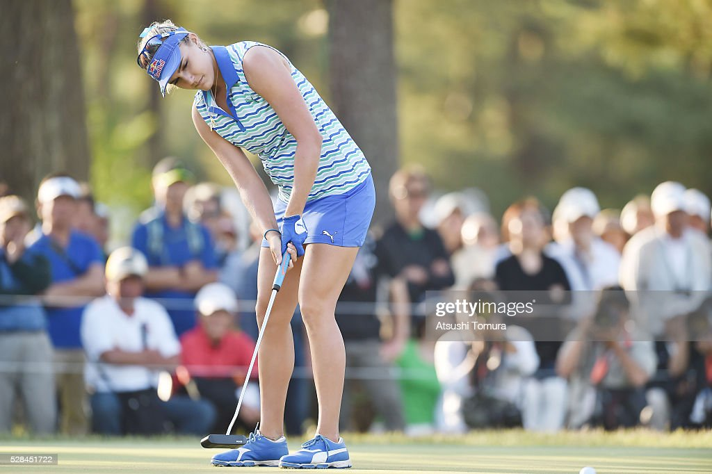 Lexi Thompson of the USA putts on the 9th hole during the first round of the World Ladies Championship Salonpas Cup at the Ibaraki Golf Club on May 5, 2016 in Tsukubamirai, Japan.