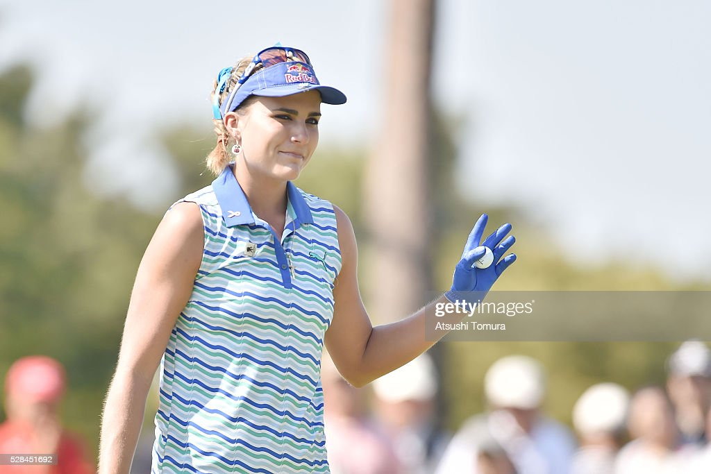 Lexi Thompson of the USA reacts during the first round of the World Ladies Championship Salonpas Cup at the Ibaraki Golf Club on May 5, 2016 in Tsukubamirai, Japan.