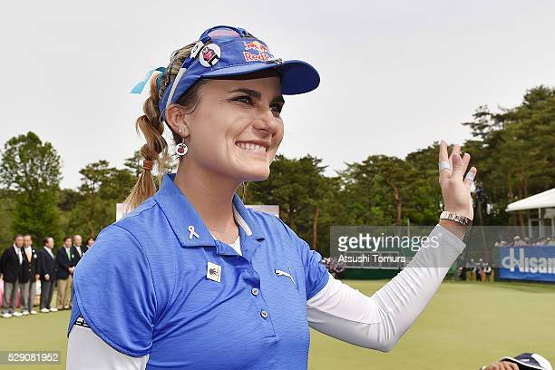 Lexi Thompson of the USA smiles after winning the World Ladies Championship Salonpas Cup at the Ibaraki Golf Club on May 8 2016 in Tsukubamirai Japan