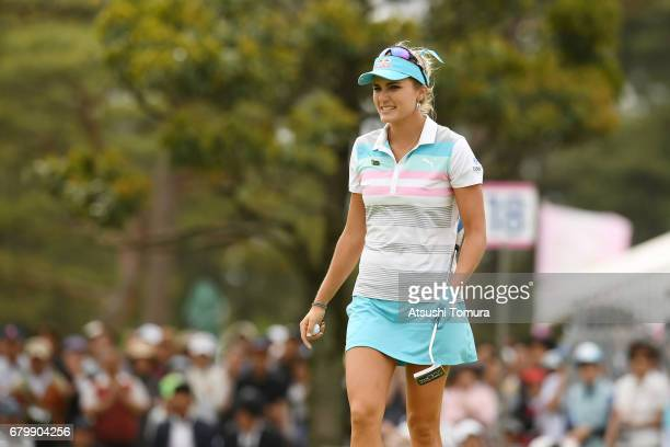 Lexi Thompson of the USA smiles during the final round of the World Ladies Championship Salonpas Cup at the Ibaraki Golf Club on May 7 2017 in...