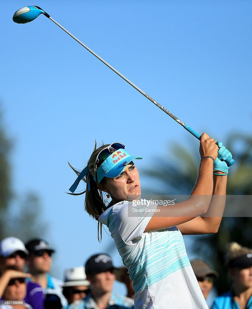 Lexi Thompson of the USA tees off on the par 4, 16th hole during the final round of the 2014 Kraft Nabisco Championship on the Dinah Shore Tournament Course at Mission Hills Country Club on April 6, 2014 in Rancho Mirage, California.