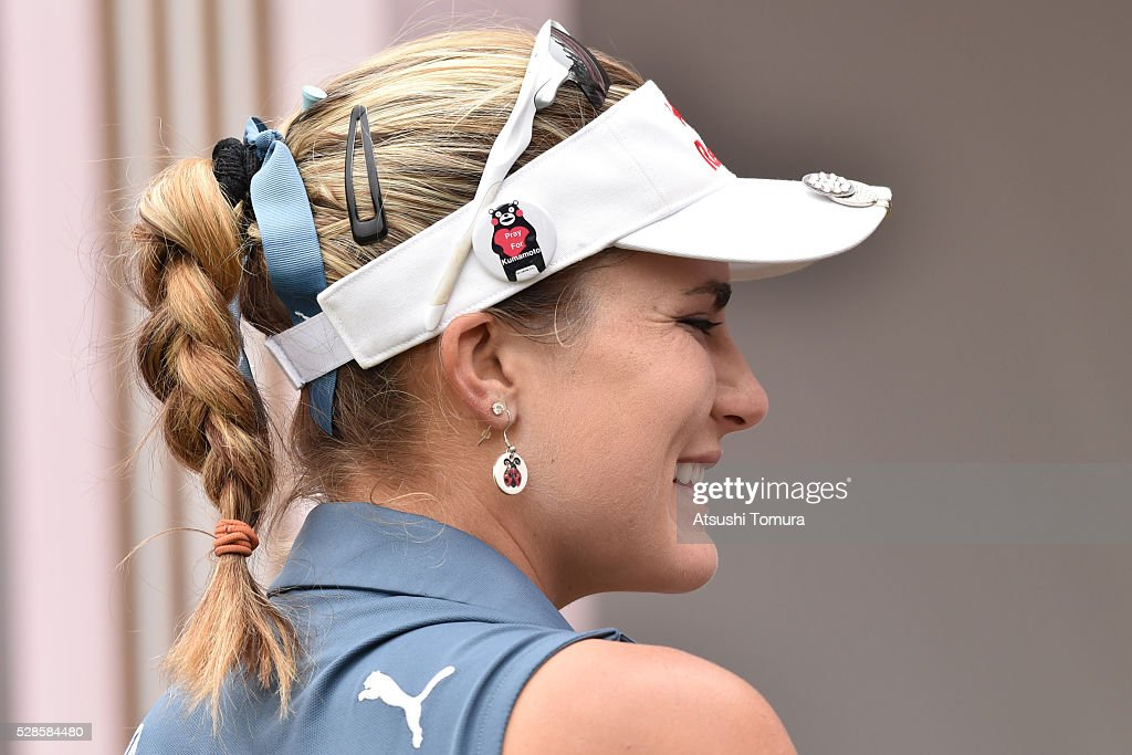 Lexi Thompson of the USA wears a Kumamoto mascot badge during the second round of the World Ladies Championship Salonpas Cup at the Ibaraki Golf Club on May 6, 2016 in Tsukubamirai, Japan.