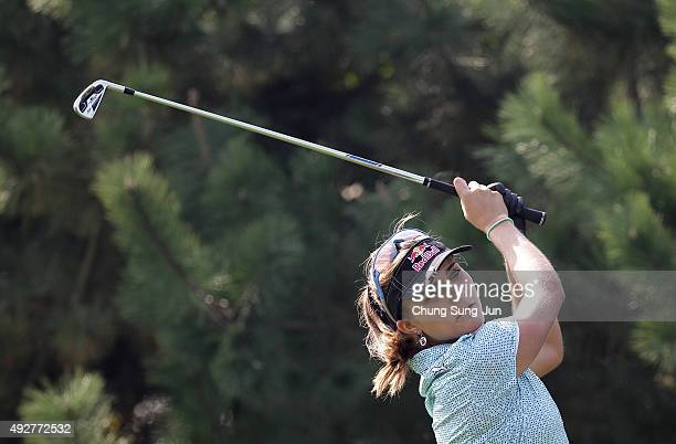 Lexi Thompson of United States plays a tee shot on the 4th hole during the first round of LPGA KEBHanaBank Championship at Sky 72 Golf Club Ocean...