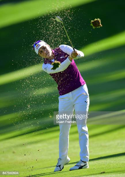 Lexi Thompson of USA plays a shot during the weather delayed first round of The Evina Championship at Evian Resort Golf Club on September 15 2017 in...