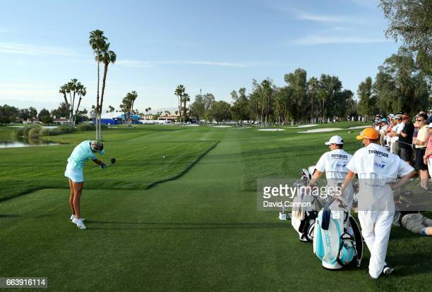 Lexi Thompson plays her tee shot on the 18th hole during the final round of the 2017 ANA Inspiration held on the Dinah Shore Tournament Course at the...