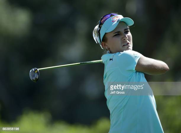 Lexi Thompson plays her tee shot on the sixth hole during the final round of the ANA Inspiration at the Dinah Shore Tournament Course at Mission...