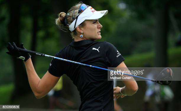 Lexi Thompson reacts to her drive on the third hole during the second round of the Marathon Classic Presented By Owens Corning And OI held at...